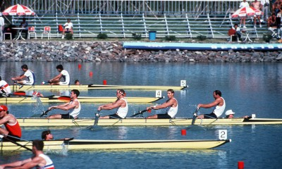 Lieutenant Junior Grade (LTJG) John Walters and teammates on the US Olympic rowing team vie for the gold in the rowing-4 competition during the XXIV Olympic Games.