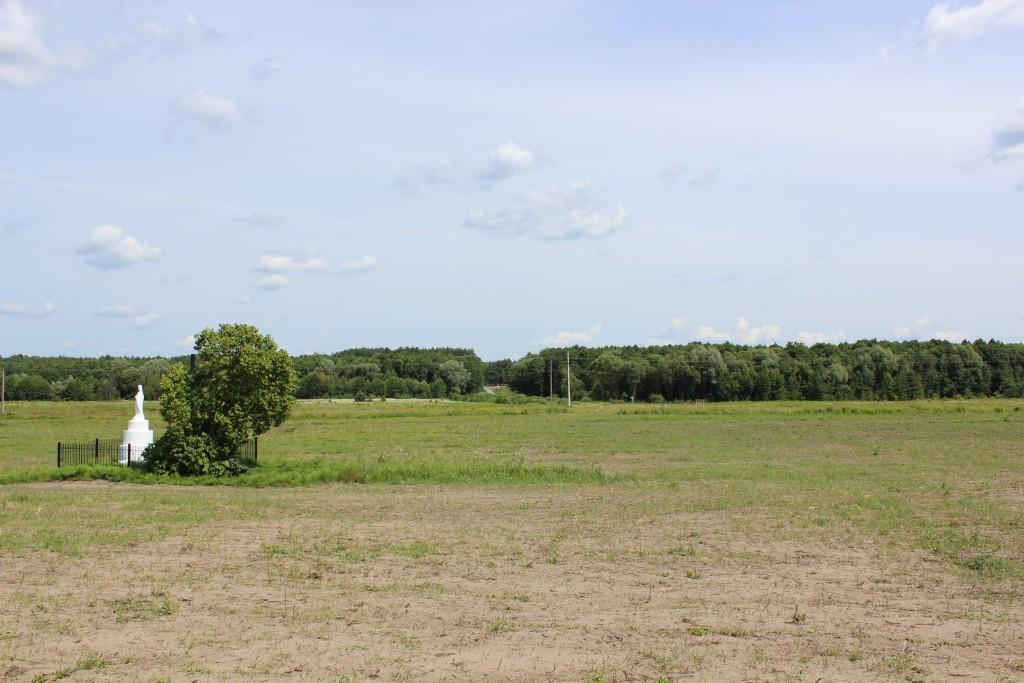 Ostrówki na Wołyniu. W tym miejscu istniała polska wioska, której ludność wymordowano w 1943 r. Pozostały pola i w oddali cmentarz. (fot. Adam Kuczyński)