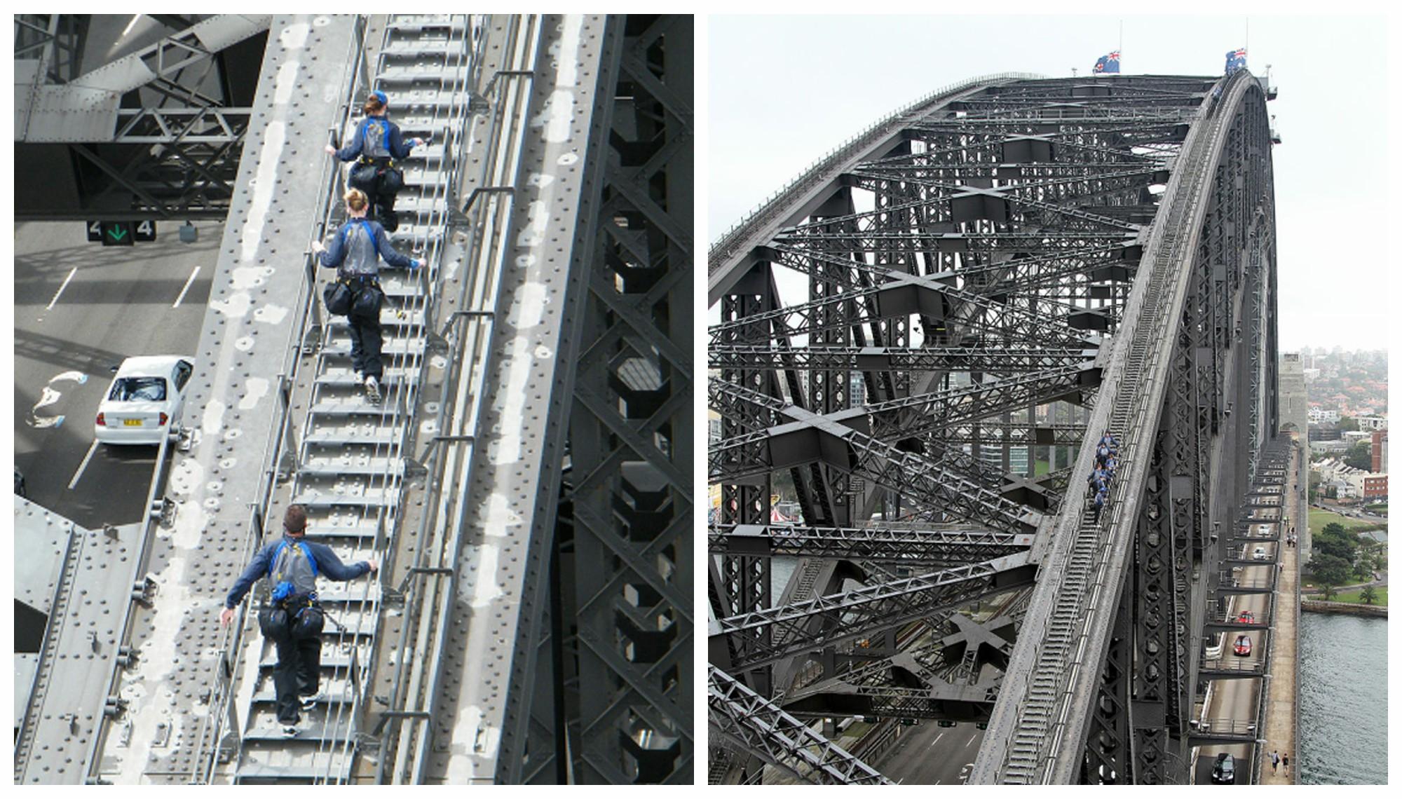 Atrakcją mostu Sydney Harbour Bridge jest możliwość wspinaczki po łuku głównym przęsła po specjalnie przygotowanych do tego celu schodach (fot. Wikipedia)