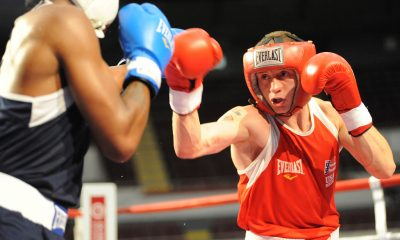 U.S. Army World Class Athlete Program boxer Sgt. Samuel Vasquez Jr. (right) of Fort Carson, Colo., loses a 31-23 decision to Amir Imam of Albany, N.Y., in ther 152-pound challengers bracket of the U.S. Olympic Team Trials for Men's Boxing on Aug. 4 at the Mobile Civic Center in Mobile, Ala. U.S. Army photo by Tim Hipps, IMCOM Public Affairs