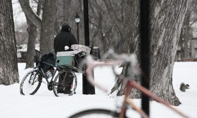 Homeless Cold Poverty Scene Snow Bike Winter