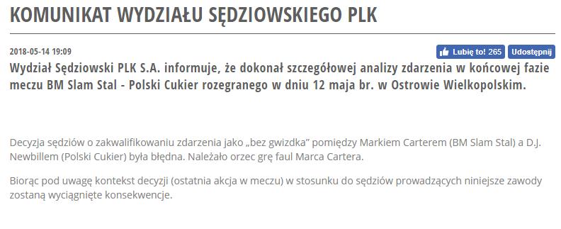 Pełen komunikat Wydziału Sędziowskiego PLK (fot.plk.pl)